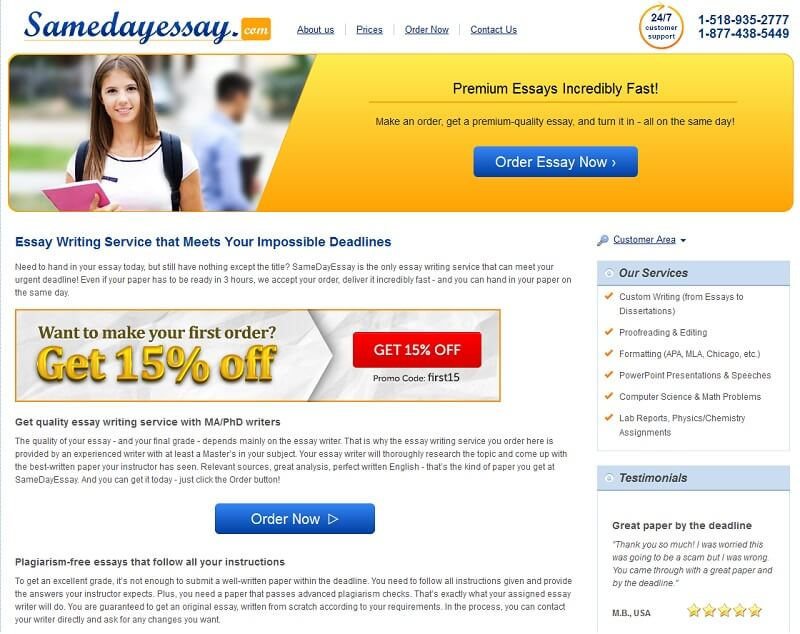 Samedayessay.com Essay Writing Service Review